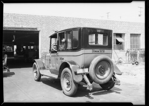 Cabs taken to show paint job, Yellow Cab Co., Southern California, 1927