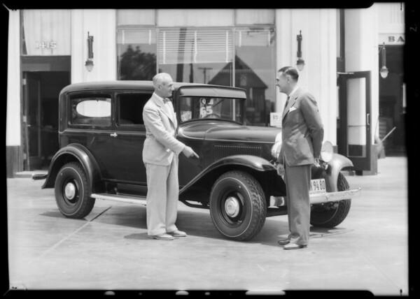 Ralph DePalma and tires, Southern California, 1932