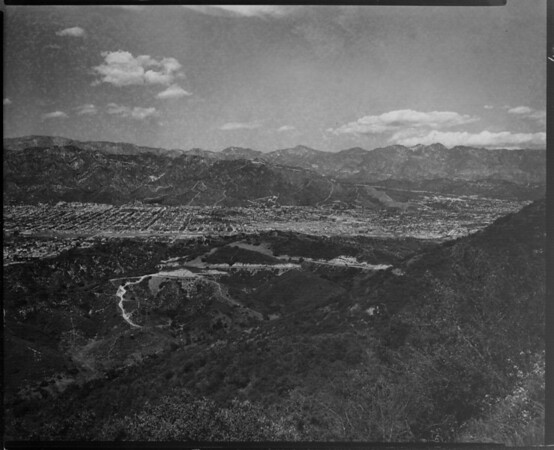 The Hollywood Hills area seen between two mountains