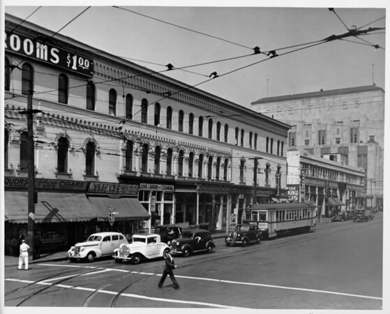 First Street between Spring Street and Main Street, Los Angeles Times Building