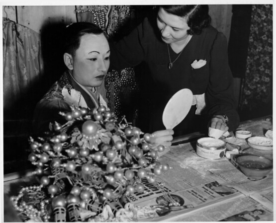 Chinatown in 1948, performers, preparing to perform, costumes, backstage in Chinatown