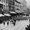 View of Broadway, west side looking north, from Fourth Street showing Islam Patrol of San Francisco on parade in Los Angeles at Shriner's convention