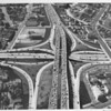 Aerial view of Hollywood Freeway crossing over the Harbor Freeway / Pasadena Freeway downtown
