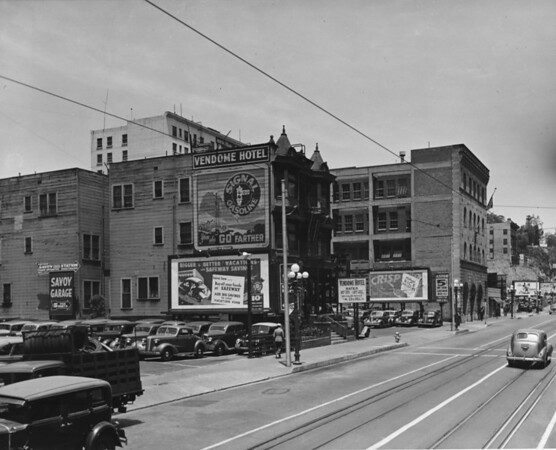 In Downtown Los Angeles facing north on South Hill Street at the Vendome Hotel ($1.00 per day, $3.00 per week for a clean, well-ventilated room)