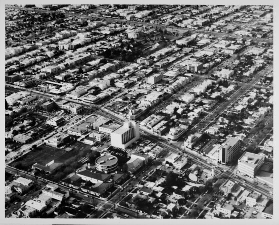 Aerial view facing north over Wilshire Boulevard and Robertson Boulevard in Beverly Hills