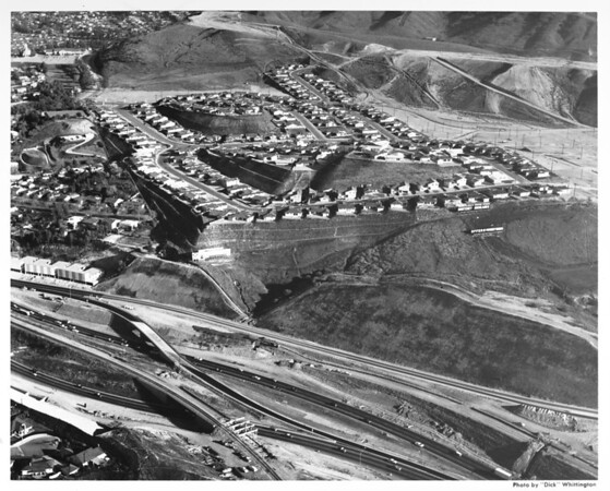 Aerial view of new residential development south of the Santa Monica Freeway called Monterey Highlands