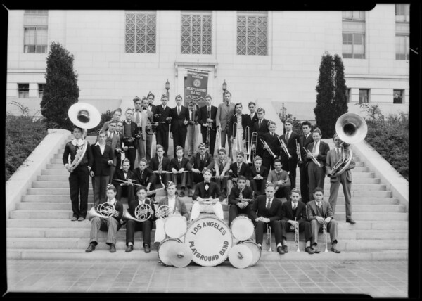 Boys band on City Hall steps, Los Angeles, CA, 1930