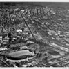 Aerial view, Exposition Park, Downtown Los Angeles, Coliseum, Sports Arena, Harbor Freeway