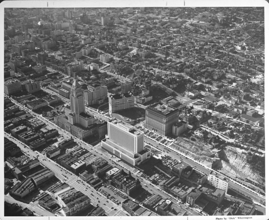 Aerial view looking southwest from Los Angeles Street and Temple Street