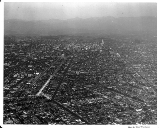 Aerial view looking towards Downtown Los Angeles