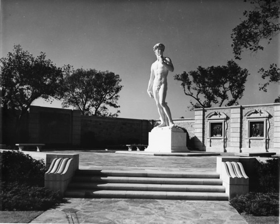 A sculpture of David in the Forest Lawn Memorial Park