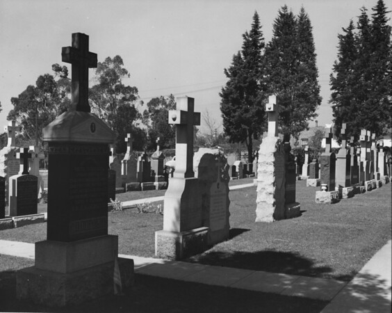 Rows of headstones at a slanted angle