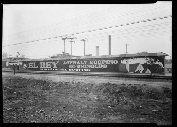 Sign outside of plant, Los Angeles Paper Manufacturing Co., Southern California, 1930