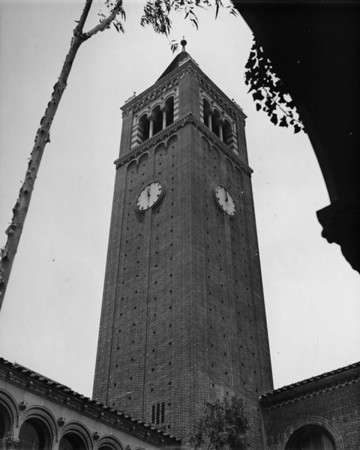 Clock tower on Mudd Hall on the University of Southern California (USC) campus