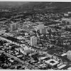 Aerial view facing north over Westwood at Wilshire Boulevard and Malcolm Avenue