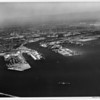 Aerial view of Los Angeles Harbor facing north over the San Pedro Breakwater into the main channel