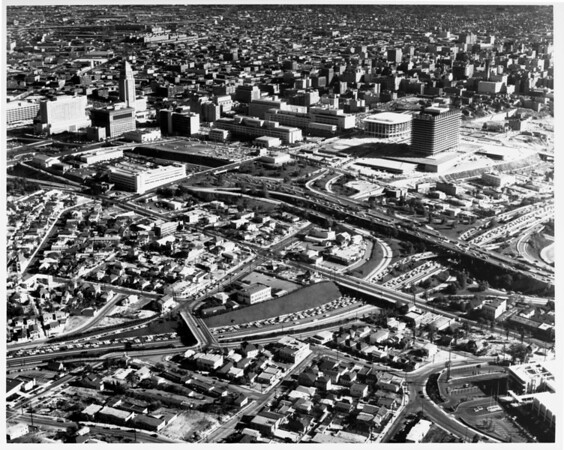 Aerial view of Civic Center, Music Center, downtown Los Angeles looking south from the I-101 and I-110 interchange