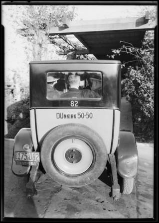 Yellow Cab with 5 men, Ambassador Hotel, Los Angeles, CA, 1927