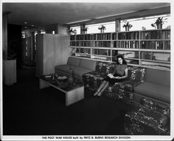 The Post War House built by Fritz B. Burns Research Division, home interior of 1948, den area