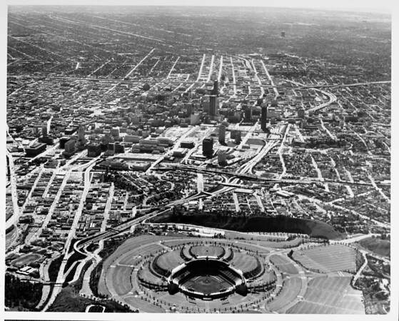 Aerial view of Dodger Stadium, downtown Los Angeles looking south from the stadium