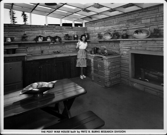 The Post War House built by Fritz B. Burns Research Division, kitchen with fireplace, kitchen of 1948, home