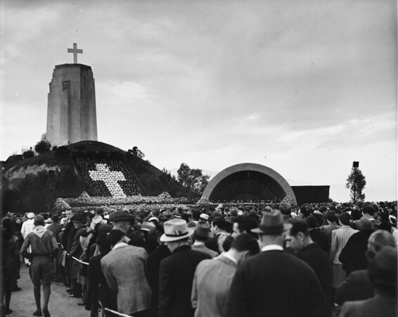 Eye-level shot of Easter Sunrise Services at the Forest Lawn Memorial Park