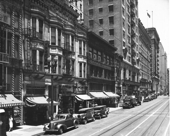 Le Grand Building, Cafe 505, Hotel Alexandria, Citizen's National Bank, 443 South Spring, Spring Street looking northwest from Fifth Street, Ed Jaloff - Tailor