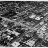 Aerial view facing north over Douglas Park and Wilshire Boulevard and Park Street in Santa Monica