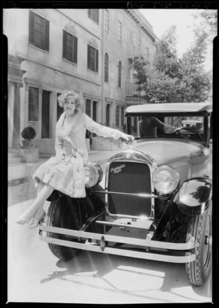 """Esther Ralston and """"HOP"""" 8 coupe, Southern California, 1927"""