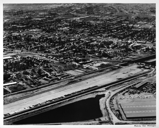 Aerial view over the Los Angeles River?