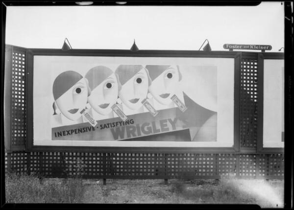 Service stations, billboard, greasy hub caps, etc., Southern California, 1932