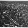 Aerial view, Downtown Los Angeles, Exposition Park, Sports Arena (Under Construction)