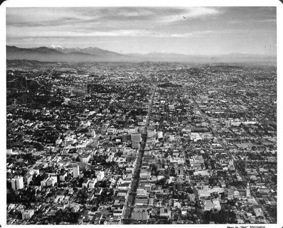 Aerial view over Hollywood Boulevard and Vine Street looking east towards Barnsdall Park (4800 Hollywood Boulevard) in Los Feliz