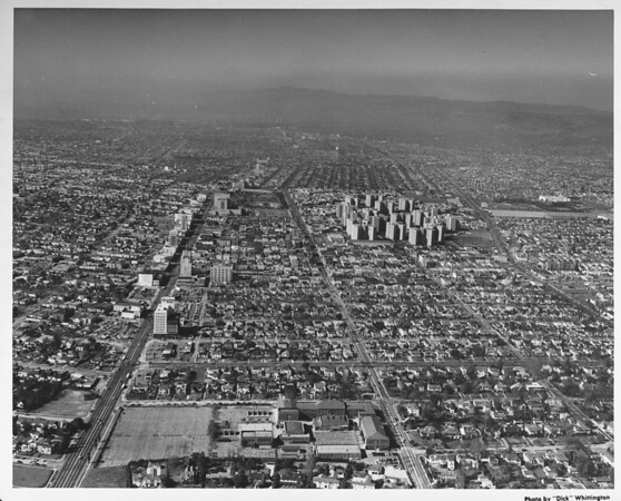 Miracle Mile, aerial view, facing west. Park La Brea, Wilshire Boulevard, Third Street