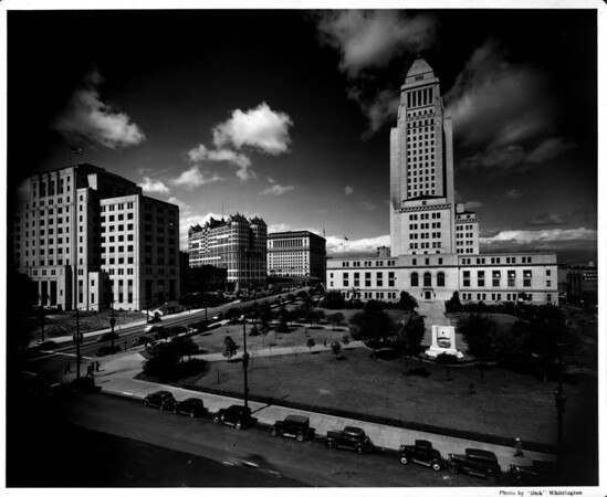Facing South in front of City Hall in the Civic Center of Downtown Los Angeles at First Street and Spring Street