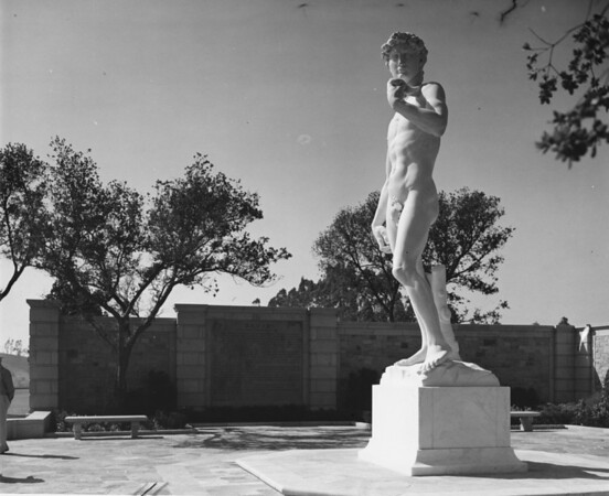 A side view shot of the sculpture David in the Forest Lawn Memorial Park
