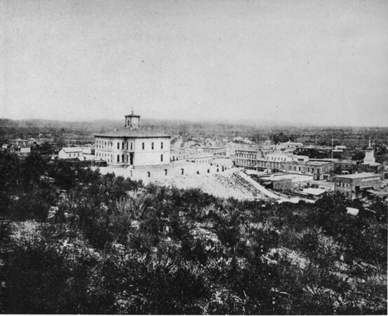 Los Angeles' first high school at Temple Street and Fort Street (now Broadway)
