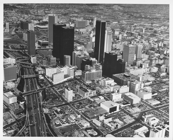 Aerial view downtown Los Angeles looking north from the Harbor Freeway from Eighth Street