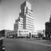 Corner view of the C. Clem Wilson Building (later the Asahi Building) on the corner of Wilshire Boulevard and La Brea Boulevard