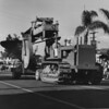 American Legion parade, Long Beach, float featuring heavy machinery from Orange County, California