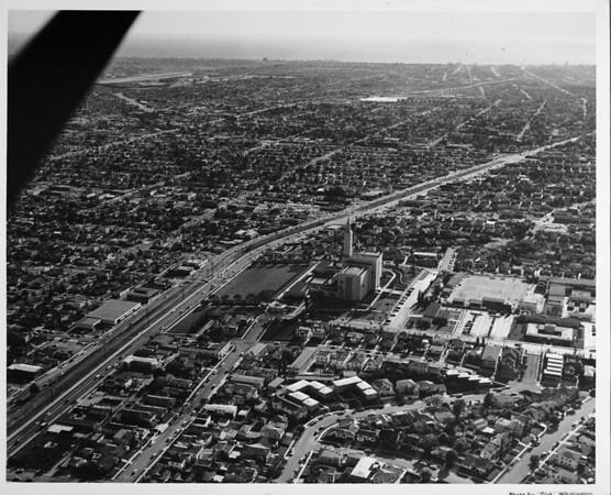 Aerial view facing west, Mormon Temple, Santa Monica Boulevard, West Los Angeles, Westwood,City of Santa Monica, Pacific Ocean