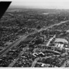 Aerial view facing west, Mormon Temple, Santa Monica Boulevard, West Los Angeles, Westwood,City of Santa Monica, Pacific Ocean