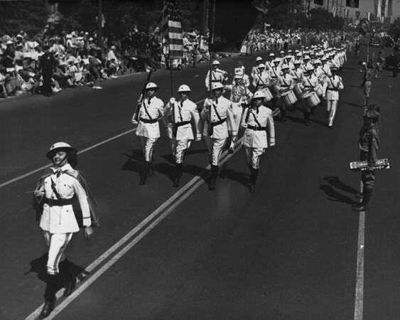 American Legion parade, Long Beach, drum corps, majorette, drum major, flag bearers