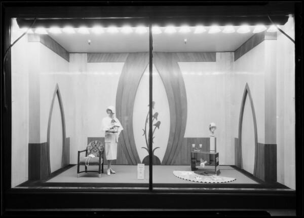 Millinery window, Southern California, 1930