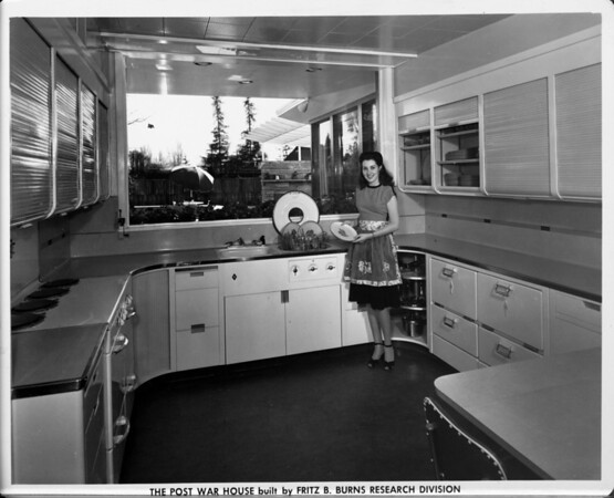 The Post War House built by Fritz B. Burns Research Division, home interior of 1948, kitchen area