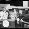 Arrival of transcontinental car at Wilshire & New Hampshire, Mr. Hawley driver, Los Angeles, CA, 1930