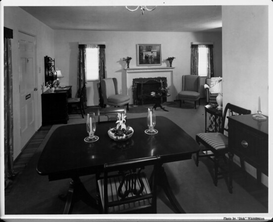 Home interior of 1948, living room and dining room