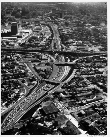 Aerial view of Harbor Freeway (I-110) and Figueroa Street looking south from the Hollywood Freeway Interchange