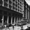 Street maintenance at the intersection of Seventh Street and Spring Street, with the Loew's State building in the background on Seventh Street