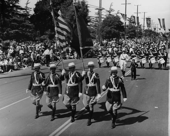 American Legion parade, Long Beach, flag bearers, drum corps